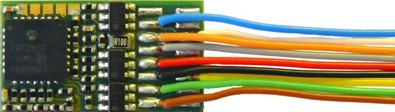 MX630F H0 Decoder - 20 x 11 x 3,5 mm - 1,0 A, 6-pol Schnittstelle NEM651 an Drähten