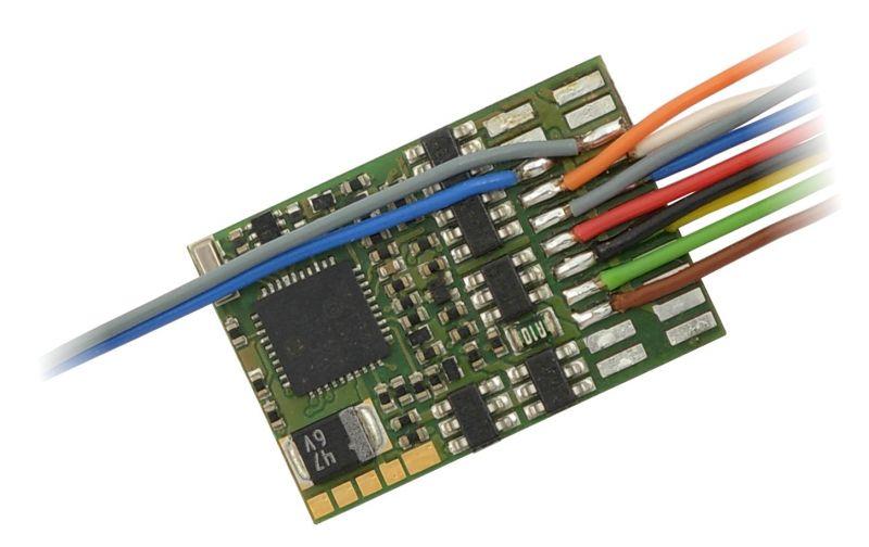 MX633 H0 Decoder mit Energiespeicher-Anschaltung - 22 x 15 x 3,5 mm - 1,2 A, 11 Anschlussdrähte